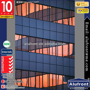 invisible water and wind resistant aluminum glass curtain wall/aluminium extruded sections curtain wall price for project