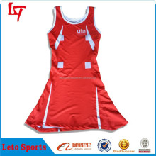 sublimated scoop neck customized soft edges netball dress/panel lycra netball bodysuit