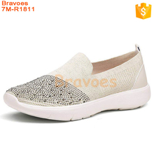 Hot Fix Rhinestones Casual Slip On Women'S Loafer Shoes In Stock, Women Flat Shoes
