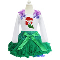 Girls Green Pettiskirt Tutu Bling Embroidered Ariel Princess Long Sleeves Tee Party Dress