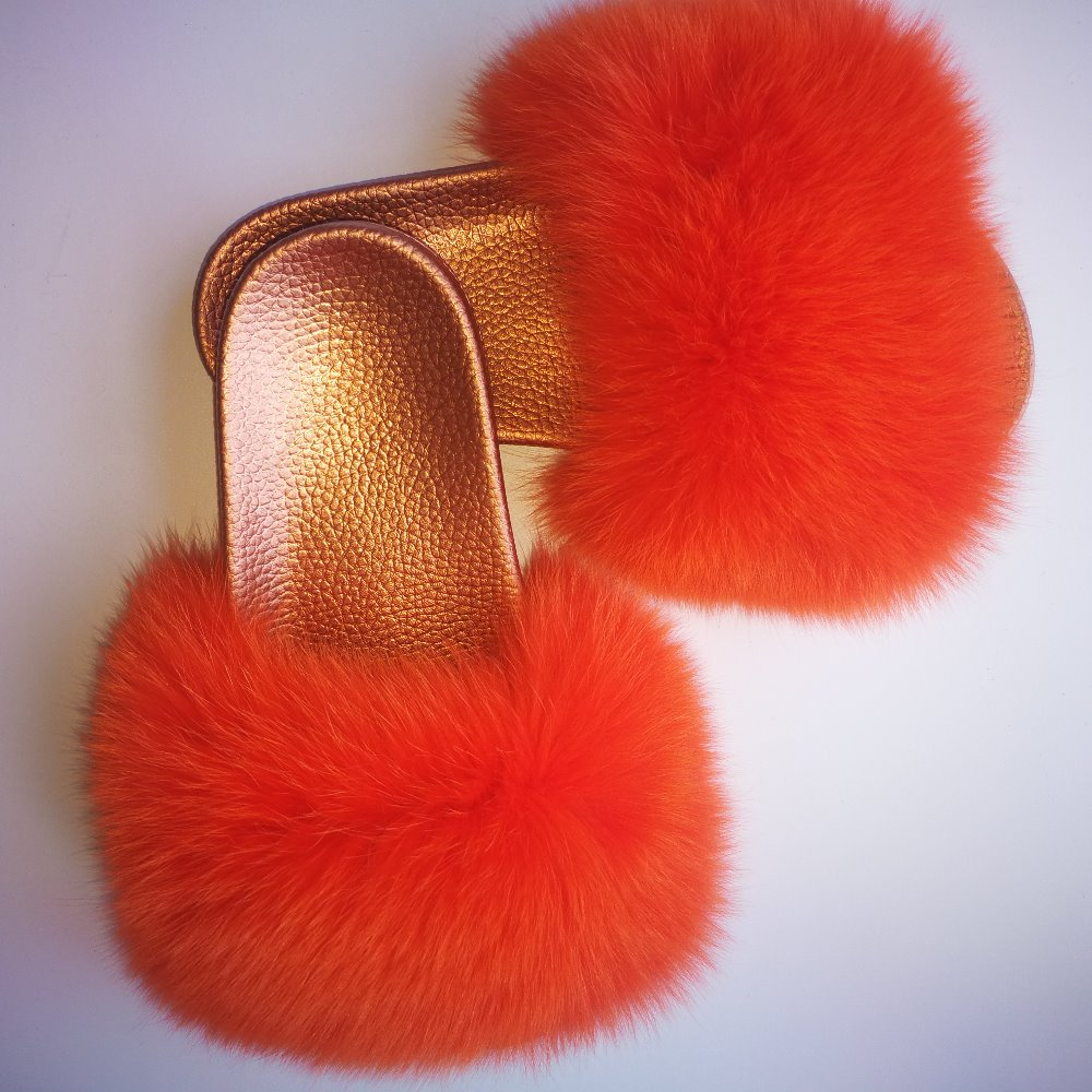 Lady raccoon Fur/ fox fur Slide golden Slippers /pvc soft slipper