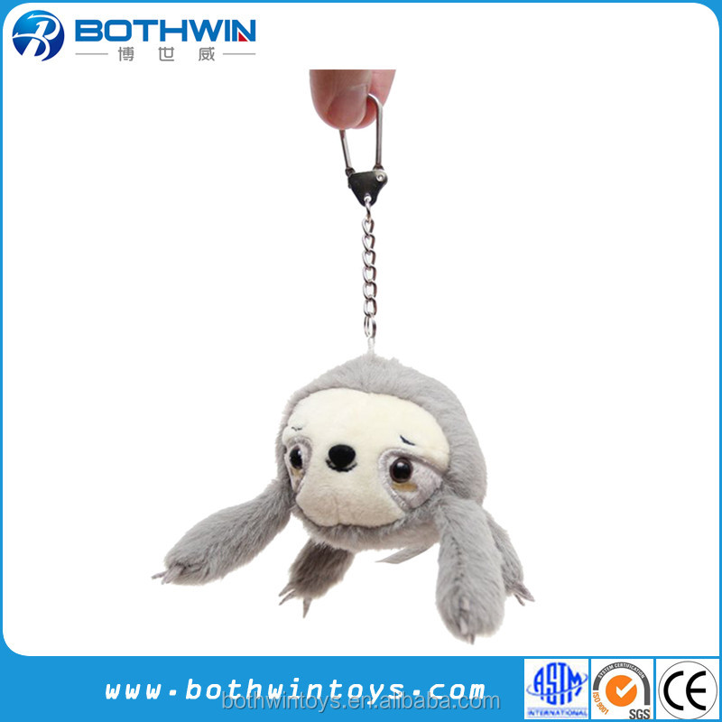 Custom cartoon anime plush sloth toy keychain