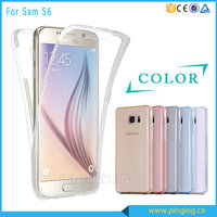 Two-sided clear crystal soft tpu 360 degrees full cover for Samsung galaxy s6 edge phone case