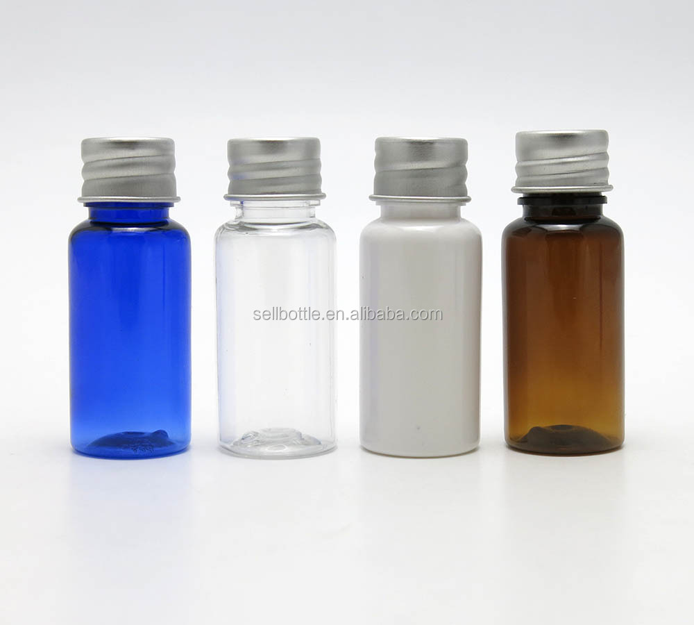 clear/white/blue/amber colorful plastic empty bottle with silvery aluminum bottle
