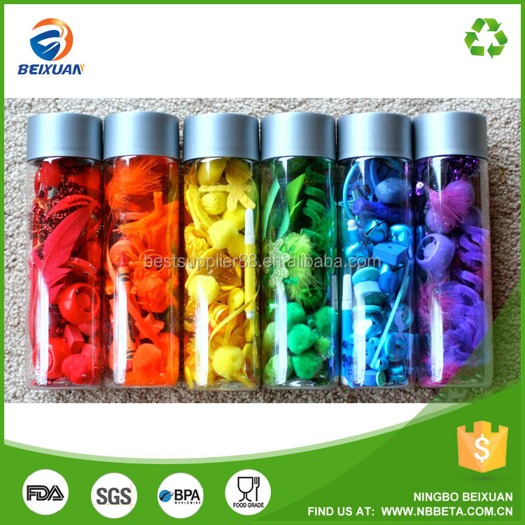 350ml 400ml 500ml voss style water bottle plastic bottle for DIY kid to make rainbow