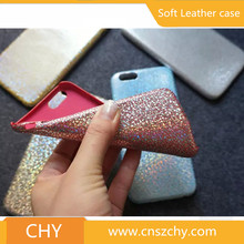bling glitter shining soft pu leather back cover phone skin case for iphone 6 plus