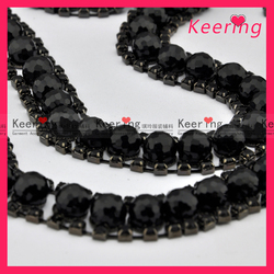 Black bead crystal rhinestone cup chain decoration WRC-023