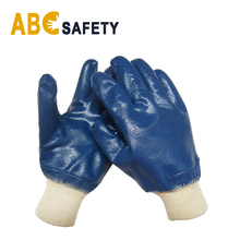 ABC <strong>SAFETY</strong> Blue fully nitrile coated oil resistant jersey lining knit wrist working gloves