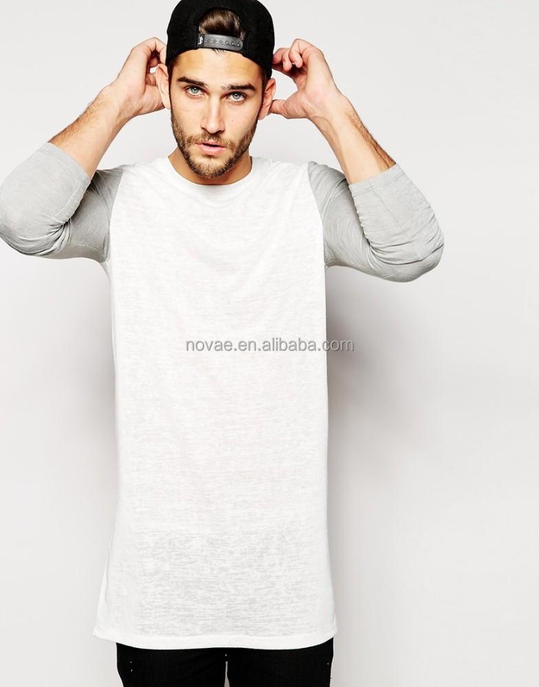 cheap custom long line t shirt men bulk long contrast