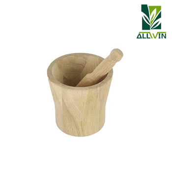 Kitchenware beech wood pestle and mortar