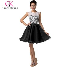 2015 grace karin pendek homecoming hitam pola gaun tanpa lengan renda gaun homecoming CL6123-2 #