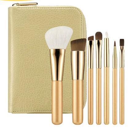 MSQ 7pcs animal hair travel size cosmetic brush set with mirror inside