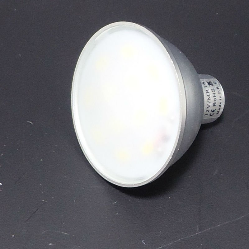 MR16 6 POWER LED SMD 50LM/chip 3W 12V 270LM PURE WHITE 2900K IP44 with glass milk cover and Constant Current Driver ( CCD)