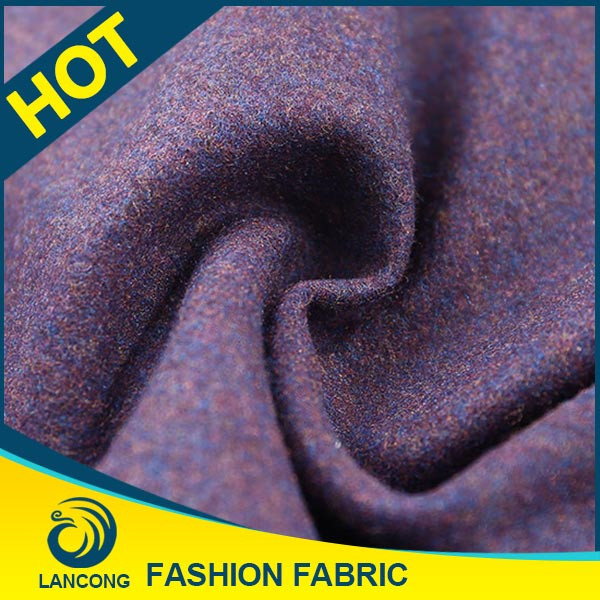 2016 lancong felt fabric plaid 100% wool, woolen fabric boucle knit, wool boucle fabric