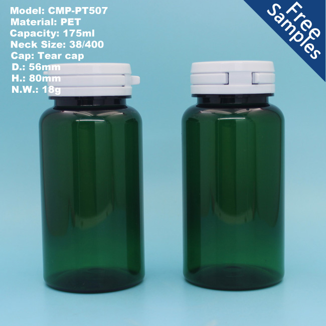 China factory PET Pharmaceutical plastic packaging bottle 175ml, 175cc medicine pill capsule bottle with tearing cap