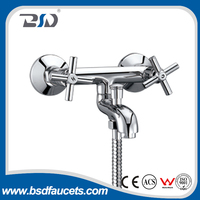 Wall-mounted chromed finishing double handles brass cheap bath faucet