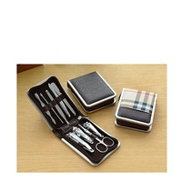 9pcs Face and Mesa De Manicure Pedicure Set Brief Case Clippers Tweezers Nail Care, Leather Travel tools set box