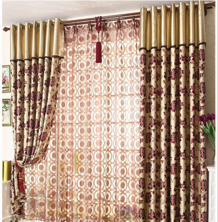 2014 latest designs hot selling beautiful 100% polyester living room design window curtain
