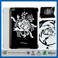 C&T Ultra slim white flower printing pu leather smart cover for ipad pro