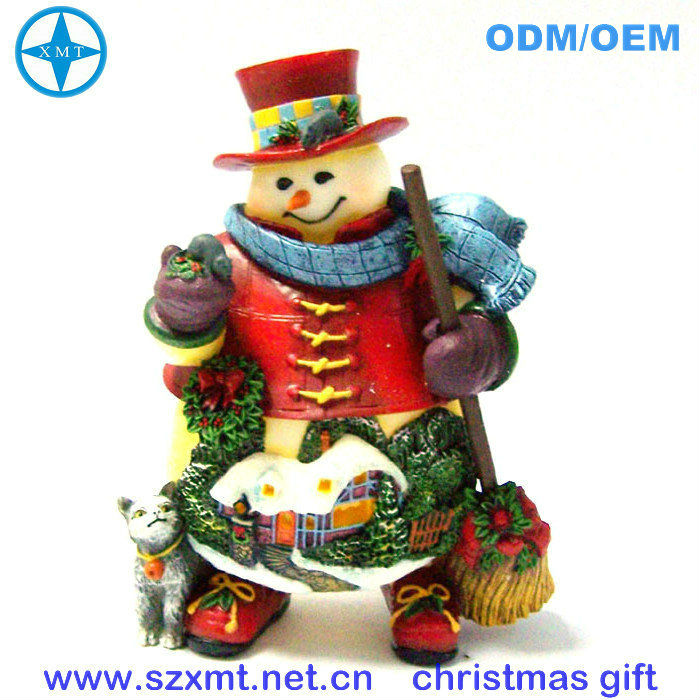trendy hot best selling christmas gifts 2013 with resin snowman and cat