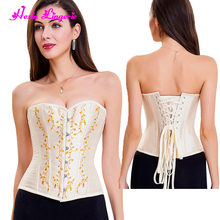 10% discount apricot overbust halloween girdles shaper women mature corset steel bone
