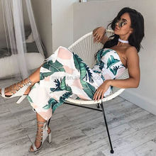 L1886A Summer Fashion Women Sexy Playsuits Ladies Floral Printed Rompers Jumpsuits
