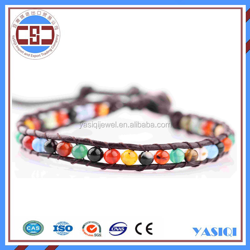 factory price fashion jewelry wrap bracelet gemstone beads leather bracelet watch