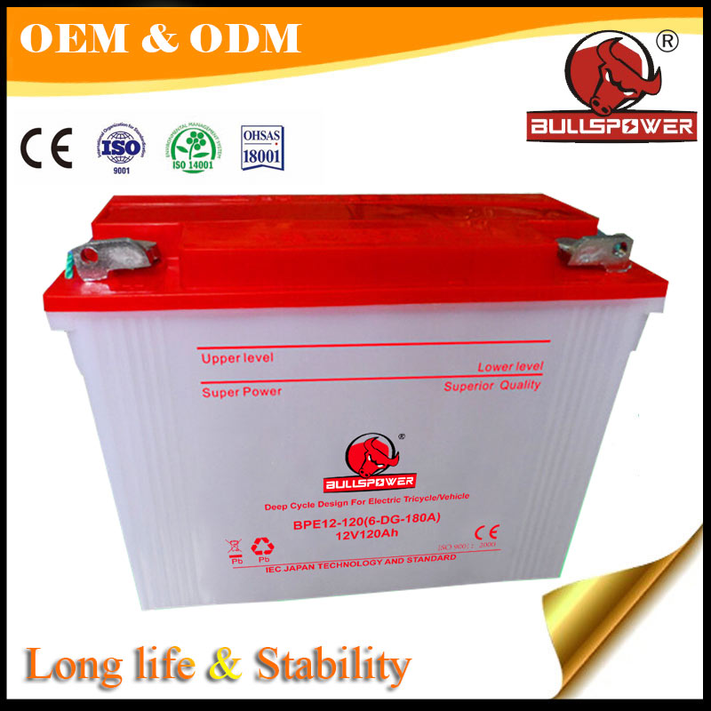 AGM deep cycle valve regulated lead acid battery 12v 120ah operated tricycle