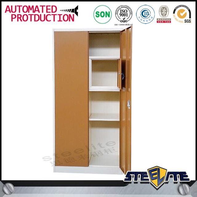 Bedroom Furniture Metal Armoire Wardrobe Steel Clothes Almirah 2 Door Khaki  Wardrobe