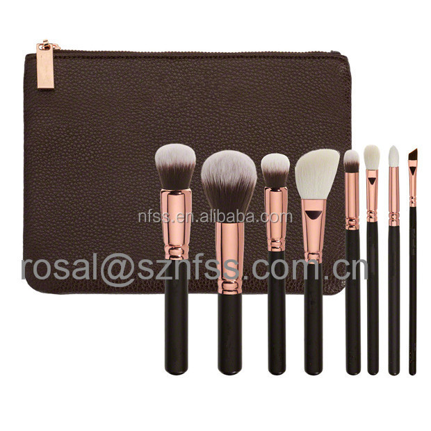 Hot Seling 8 pcs Rose Golden Kabuki Cosmetic Brush Set With Zipper Case