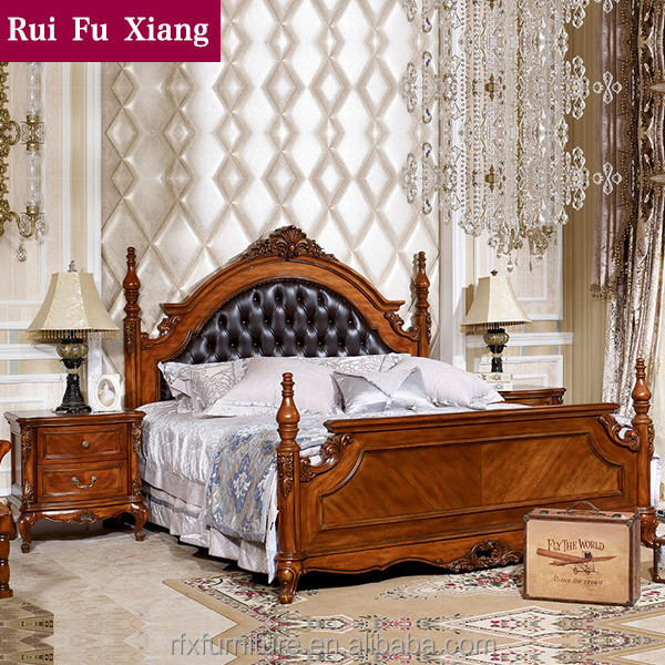 Luxury double bed with handmade carving and soft leather finish B-269
