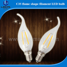 Castle used 2w 4w led filament candle bulb, E14 c35 led filament candle light