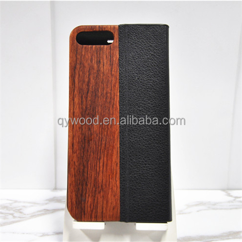 Classic wood leather cell phone case for iphone 6s plus high quality soft black leather mobile cover for men