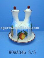 Ceramic Spice set of Salt Pepper & Vinegar
