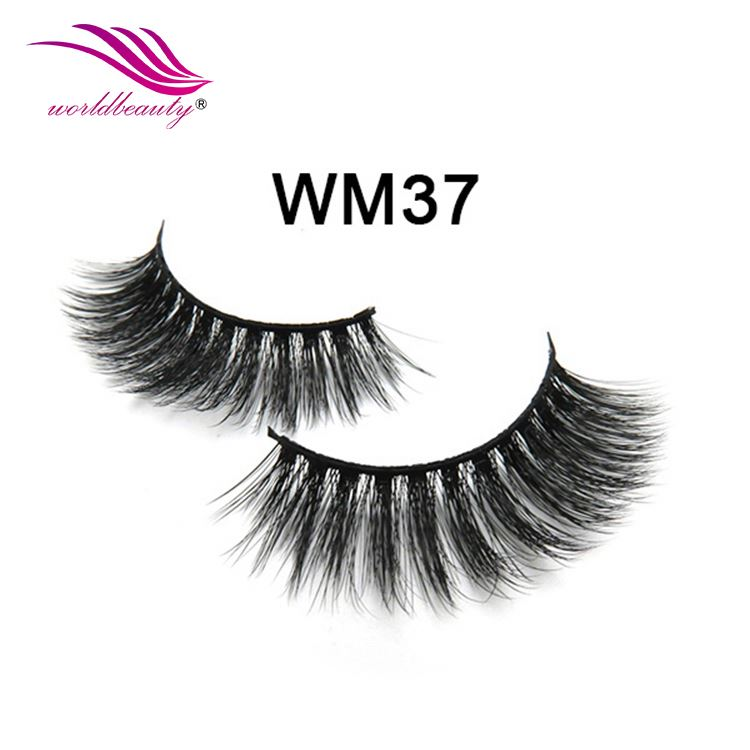 With Private Label Eyelash Packaging Fashion Full Hand Made 3d Faux Mink Fur Strip Eyelashes Wm-37-Worldbeautylashes