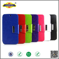 Factory price cell phone metal buckle leather case China!Suit for LG AKA F520