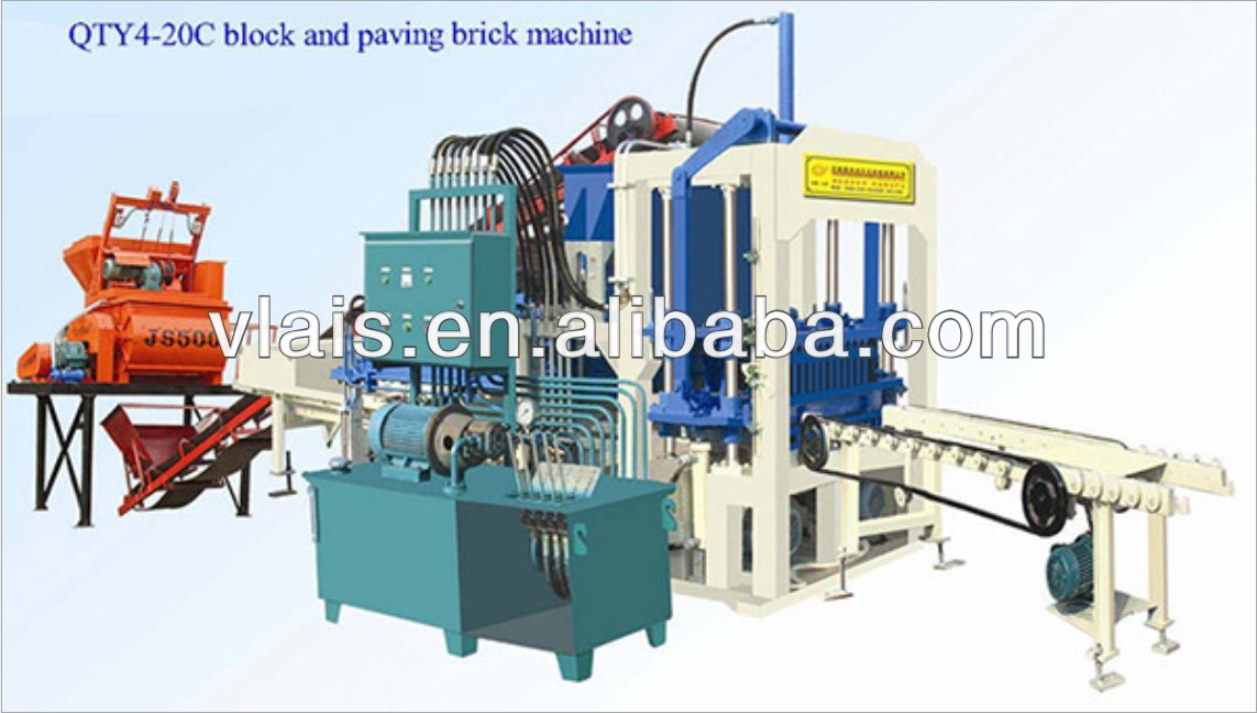 QT4-20C full automatic brick line concrete hollow block making machine