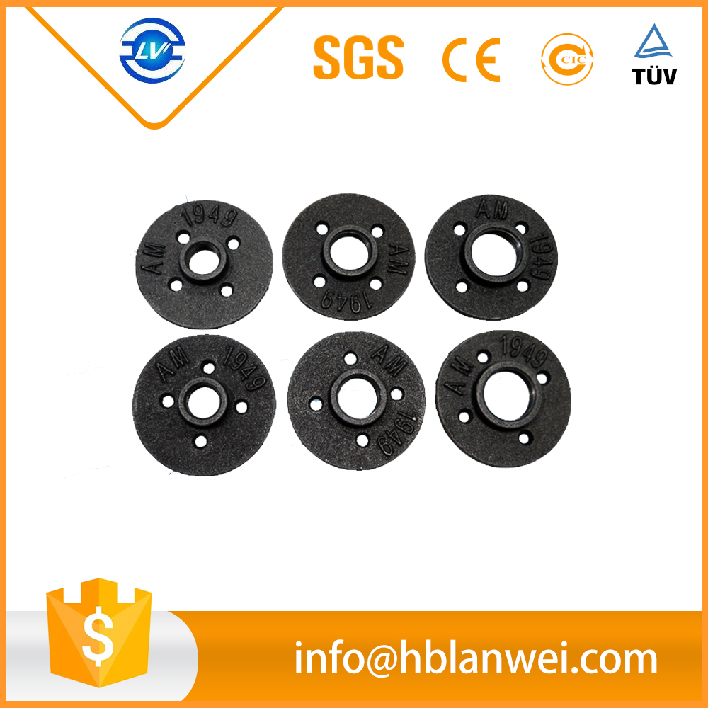 "2017 best selling malleable iron 3/4"" black floor flange"