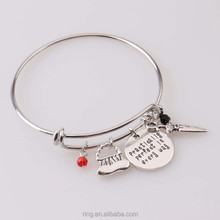 "Mary Poppins Bangle Bracelet""Practically perfect in every day""Hand Stamped Letter Bracelet"