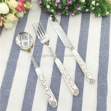 Royal Stainless Steel Cutlery Set with White Ceramic Handle