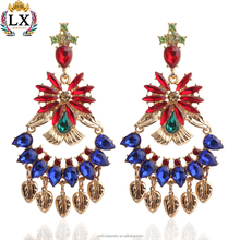 ELX-00724 Individual design droop hollowed-out colourful gemstone inlaid tassel earrings indian party wear earrings