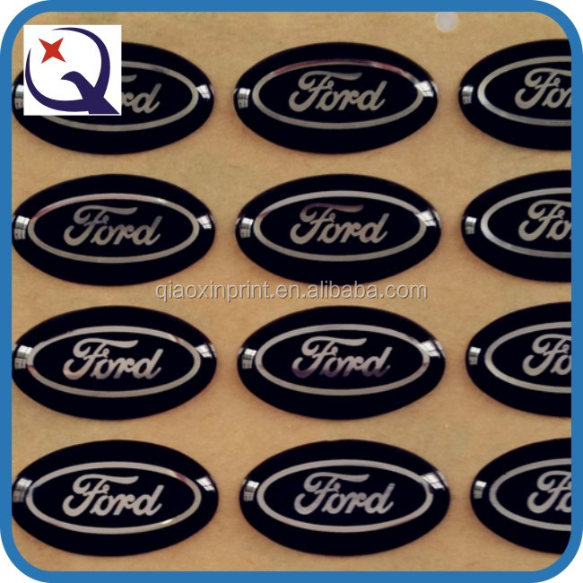 Custom car logo printed embossed domed label epoxy sticker