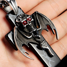 Men's Large Black Tone Stainless Steel Bat Skull Cross Pendant