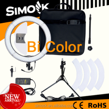 Bi- color Micro 55 Watt Photography Ring Light RL-18 LED making up Video Light for DSLR Camera on Portrait