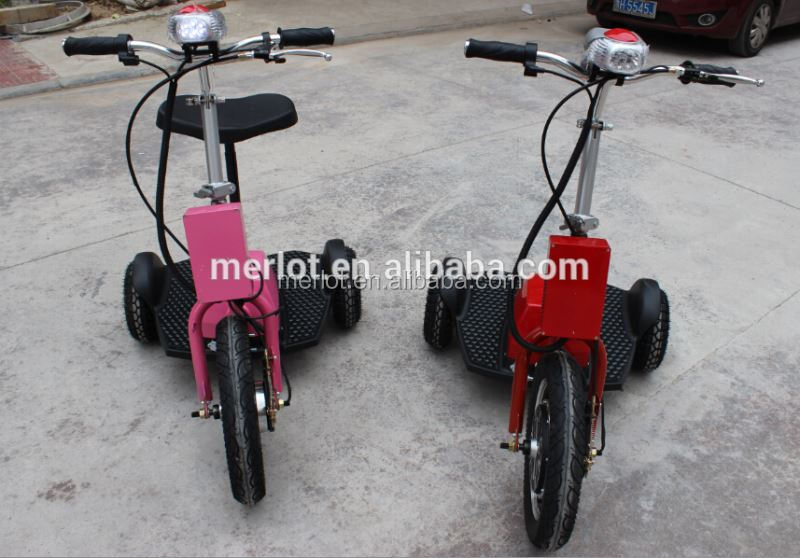 CE/ROHS/FCC 3 wheeled 2 wheels electronic scooter with 3 speed state with removable handicapped seat