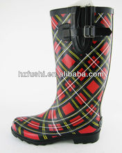 Red Plaid Print Rain Boots for Women