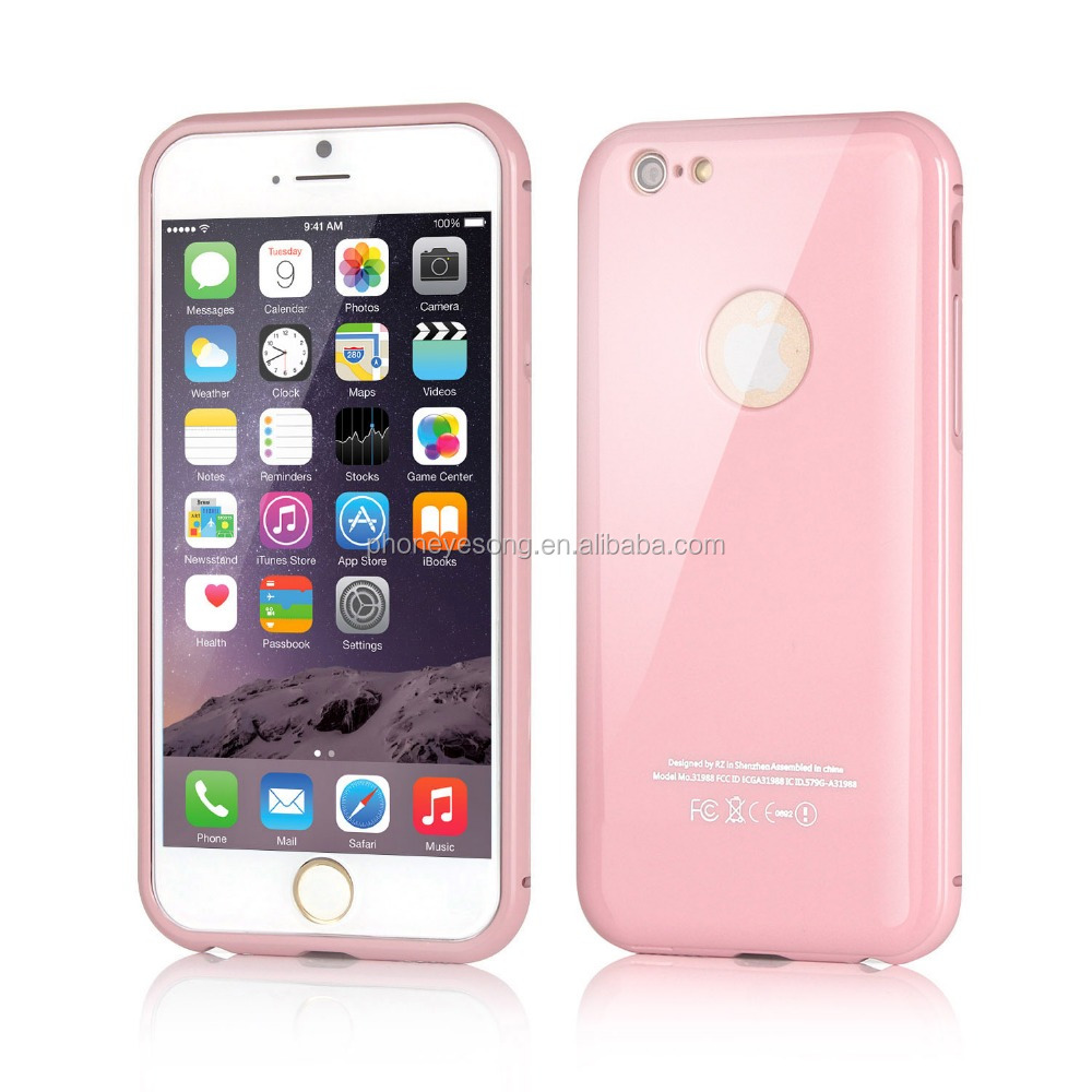 New Arrival factory price Piano baking varnish bumper with back cover for iphone 6
