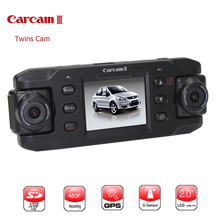 Twin Lens Dash Camera Gps Car DVR 2.3 Inch Screen Dual Lens Car Camera