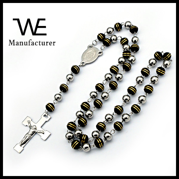 New Design Silicon Beads Prayer Necklace Rosary Cross Pendant
