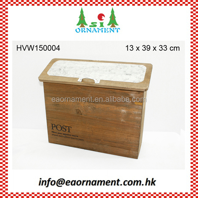Wooden mail box with tine on top as home decoration items